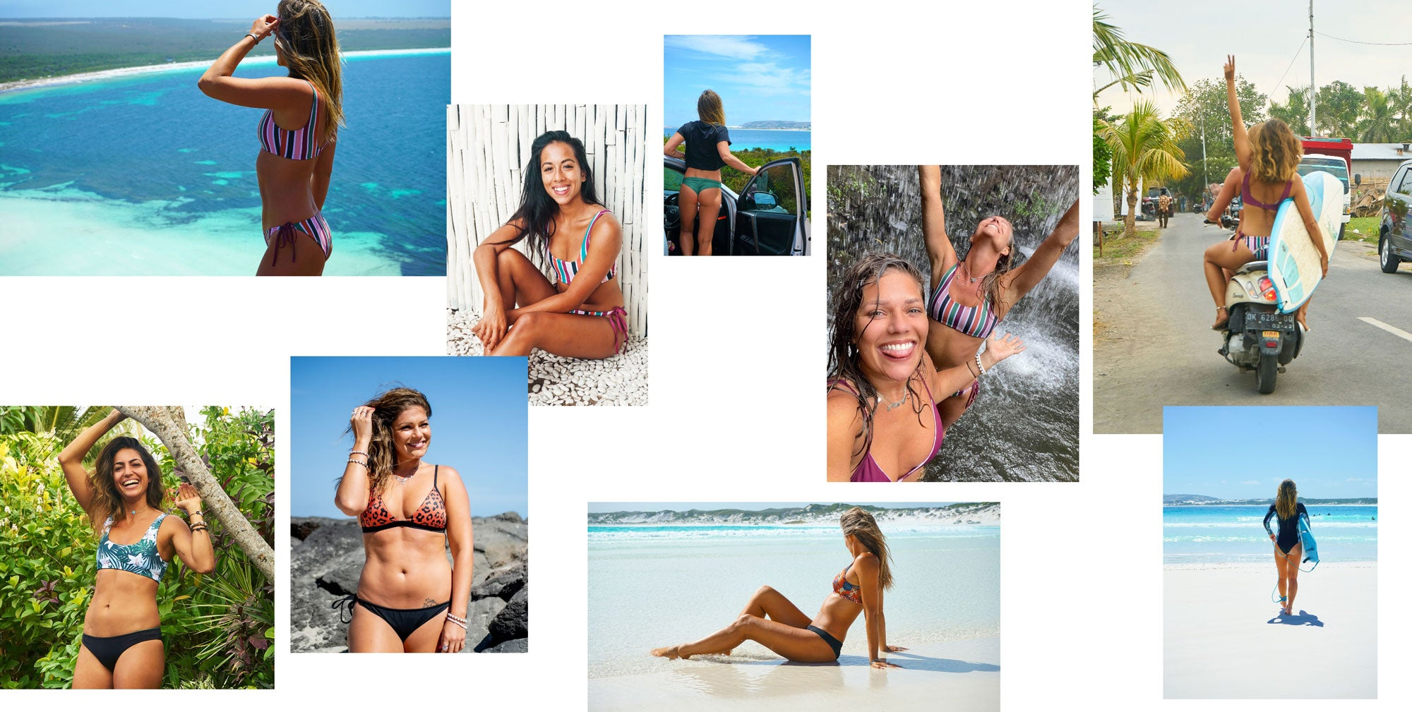 Eco friendly womens swimsuits, reversible surf bikinis and one pieces made from regenerated nylon lycra