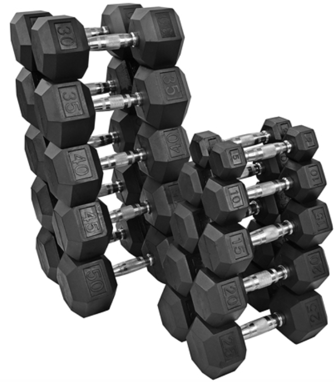 Rubberized Dumbbells 5-50 Pound Set With Rack (Save $300!)