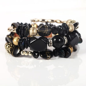 Multilayer Gem Bangles Lady