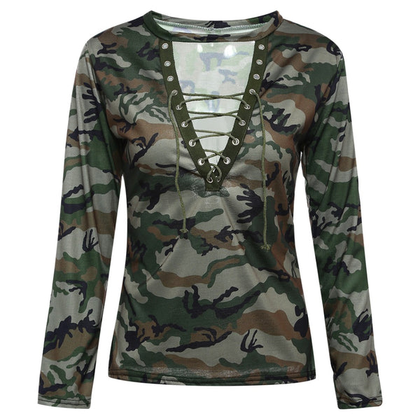 Sexy Camouflage Tops Women Camo T Shirt V Neck Lace Up Bandage