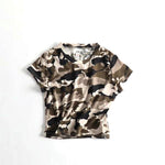Women Cotton Camouflage Crop T-shirt