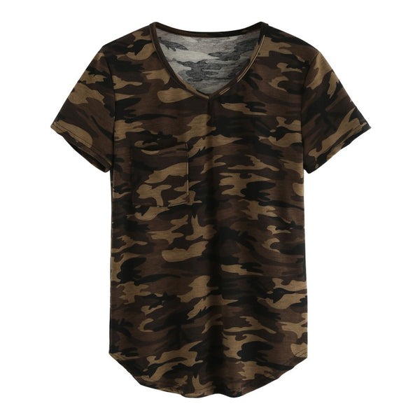 Casual V-neck Camouflage Military Camo T Shirt Women Short Sleeve T-shirt Ladies Tops Tee