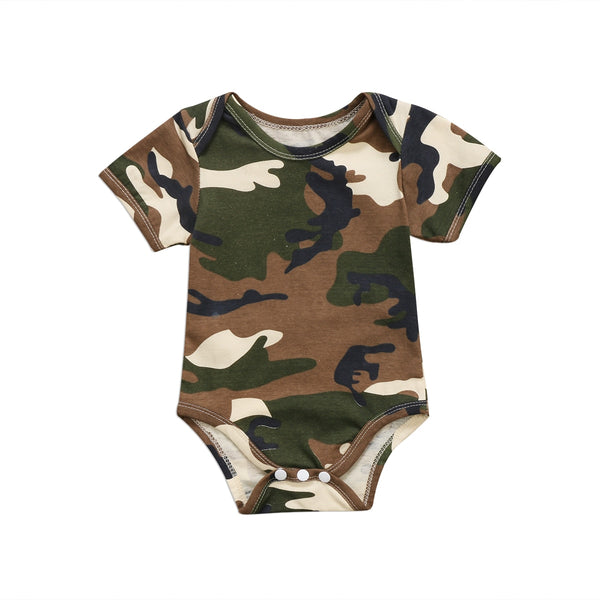 Cute Newborn Camo Short Sleeve One-piece