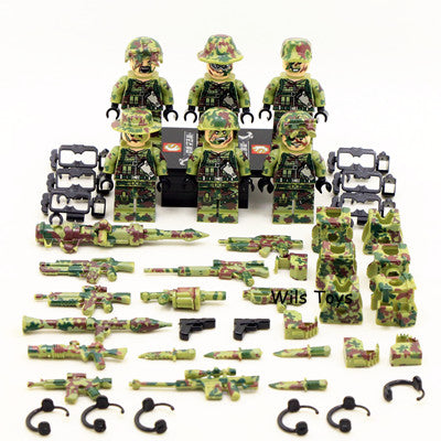 6pcs Ghillie Suit MILITARY Camouflage Army Special Forces Soldier War SWAT DIY Building Blocks Figure Educational Toys Gift Boy