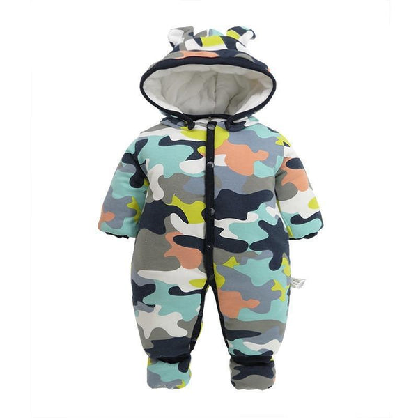 Hooded Camo Overalls Snow Jumpsuit