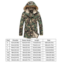 Zipper closure, Men winter long parka with fur hood, suitable for cold weather, High-quality fabrics, extra long coats for man. Men's thick thermal camouflage jackets with multi pockets. Made of Acrylic, cotton and polyester, comfortable to wear. Hand wash and machine washable. We recommend hand wash