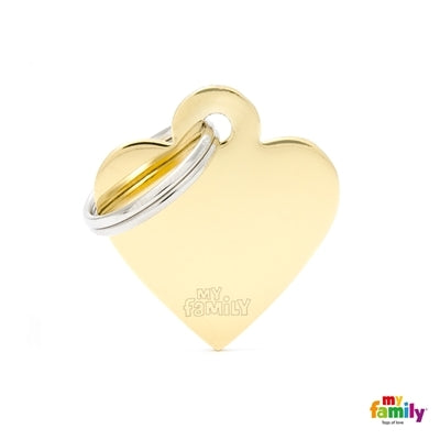 My Family Basic Brassed Heart Pet ID Tag - Gold
