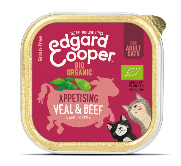 Edgard Cooper Organic Veal & Organic Beef Cup for Cats 19x85g