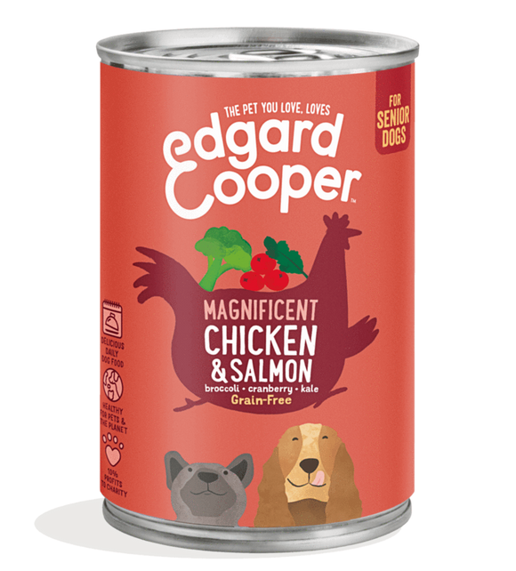 Edgard Cooper Chicken & Salmon Can for Senior Dogs 6x400g