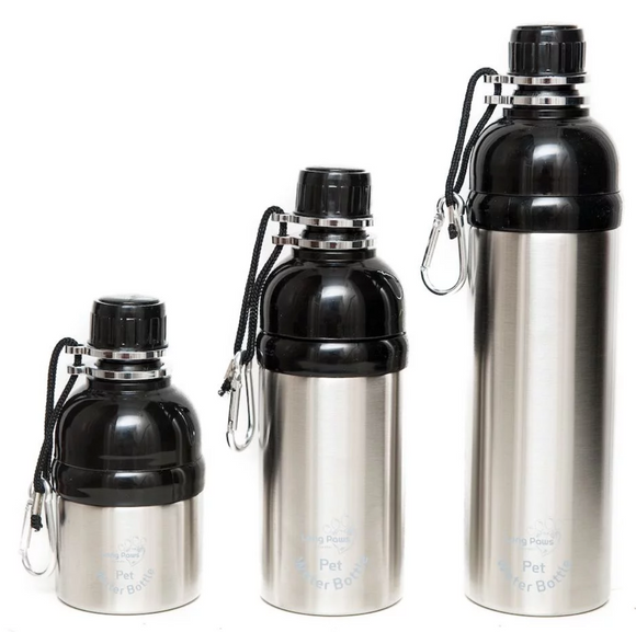 Long Paws Water Bottle - Silver