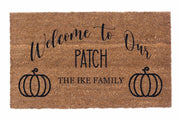 Welcome to Our Patch Personalized Doormat