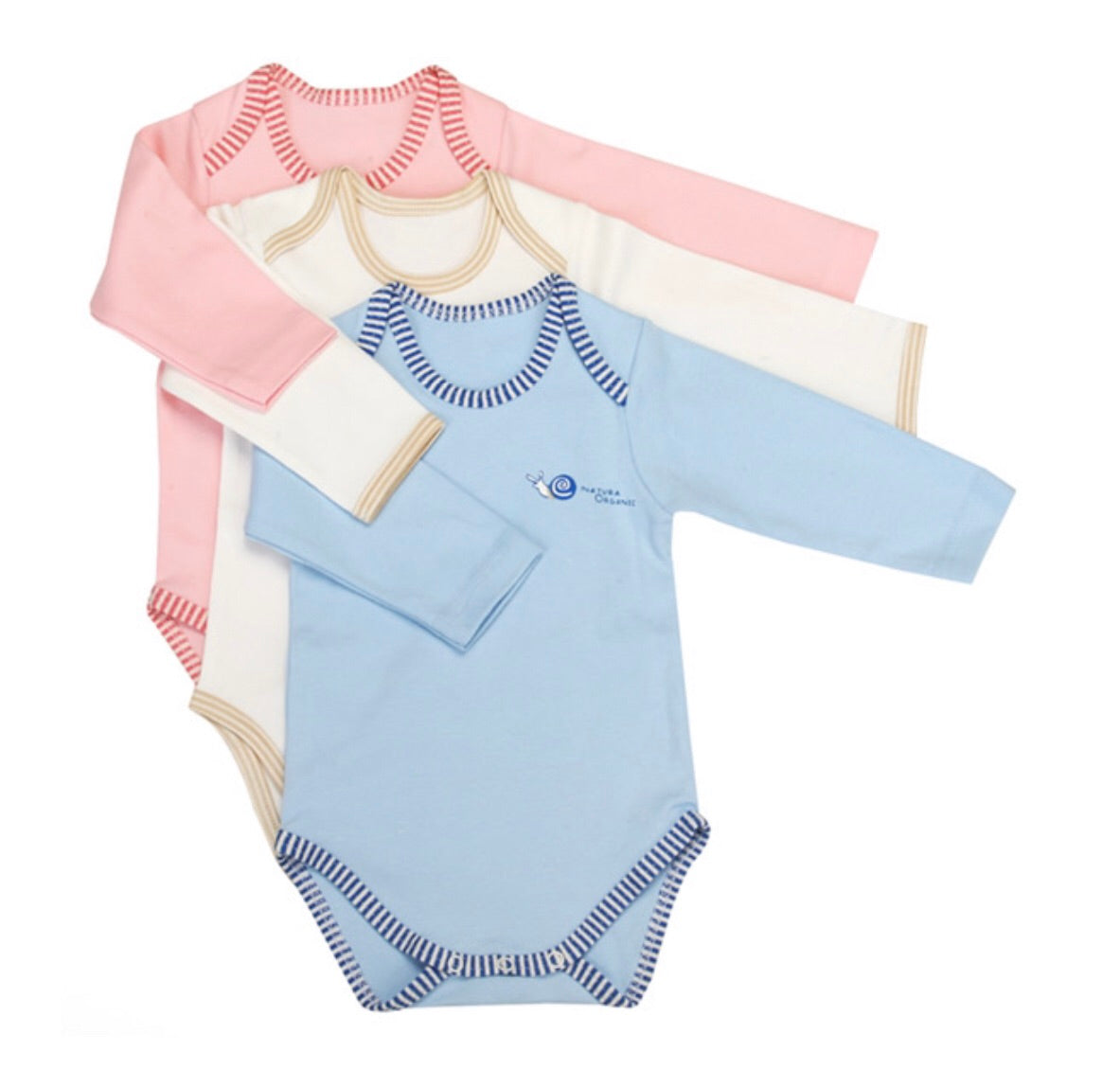 Organic Bodysuits in Ivory, Blue and Pink - Natura Organic
