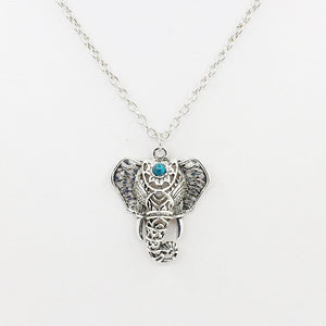 Elephant Pendant Necklace With Blue Beads