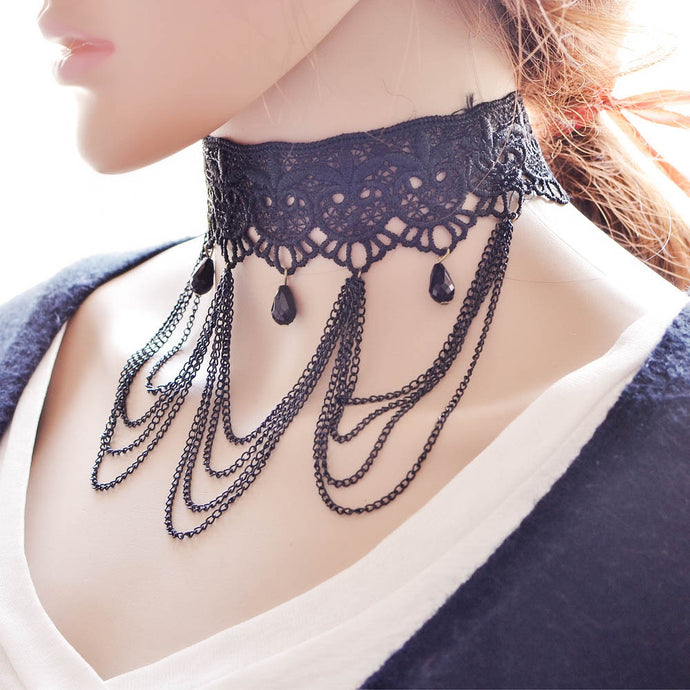 Boho Black Lace Choker Necklace