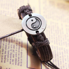 Load image into Gallery viewer, Tai Chi Ying Yang Leather Bracelet