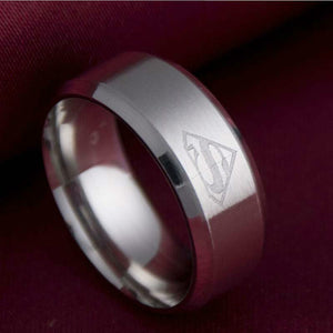 Superman Stainless Steel Ring Gold Black Silver