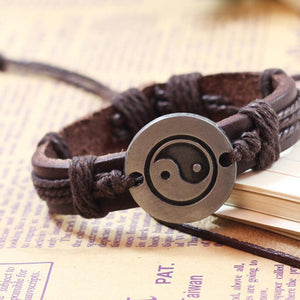 Tai Chi Ying Yang Leather Bracelet