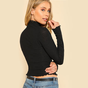 Black High Neck Long Sleeve Top