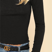Load image into Gallery viewer, Black High Neck Long Sleeve Top