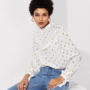 Long Sleeve Dot Print Top
