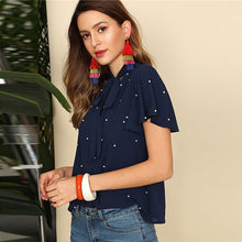 Load image into Gallery viewer, Navy Blue Pearl Embellished Top