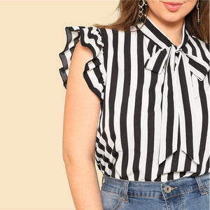 Black and White Striped Neck Ruffle Top Plus Size