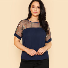 Load image into Gallery viewer, Flower Embroidered Mesh Shoulder Top Plus Size