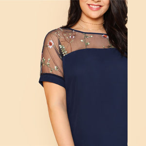 Flower Embroidered Mesh Shoulder Top Plus Size
