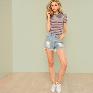 Striped Rib Knit Tee