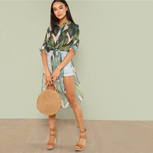 Tropical Print Long Shirt