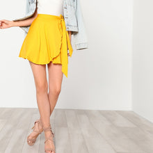 Load image into Gallery viewer, Solid Yellow Elastic Waist Skirt