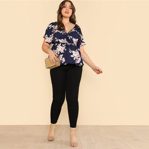 Flower Print Wrap Top Plus Size