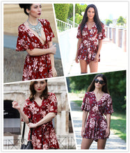 Load image into Gallery viewer, Red Floral Romper