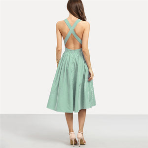 Green Criss Cross Back Striped Dress