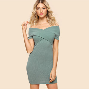 Green Elegant Cross Wrap Rib Knit Dress
