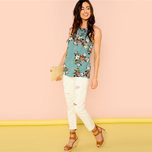 Floral Print Sleeveless Shell Top