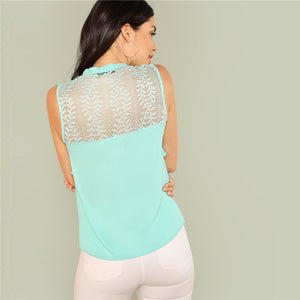 Sleeveless Lace Neck Top