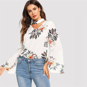 V Neck Split Sleeve Blouse