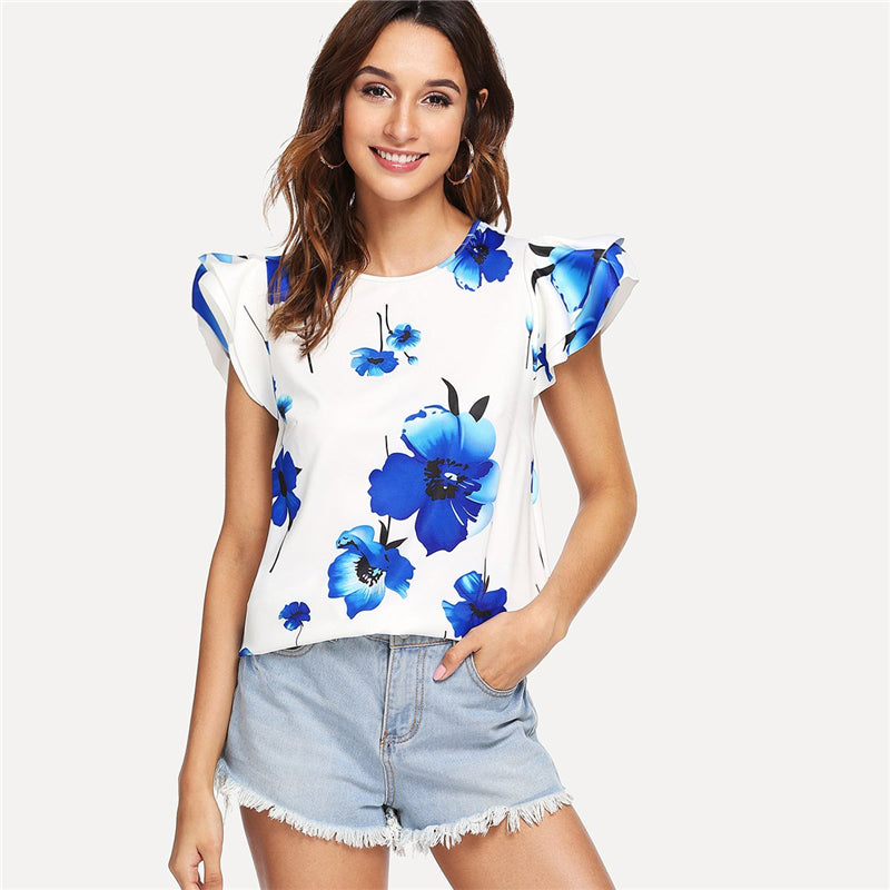 Casual Floral Print Top