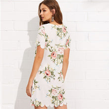 Load image into Gallery viewer, Short Sleeve Floral Print Mini Dress