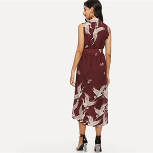 Burgundy Bohemian Crane Print Button Up Dress