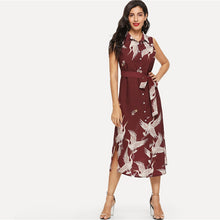 Load image into Gallery viewer, Burgundy Bohemian Crane Print Button Up Dress