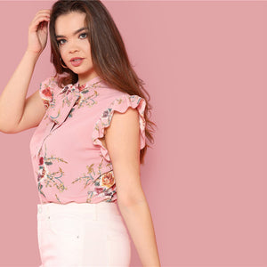 Pink Floral Print Top Plus Size