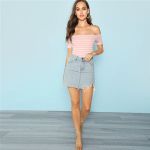 Sexy Pink Off Shoulder Skinny Bodysuit