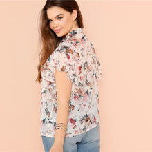 Load image into Gallery viewer, Floral Print Ruffle Sleeve Blouse Plus Size