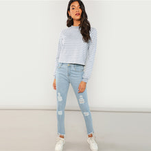 Load image into Gallery viewer, Grey Striped Casual Sweatshirt