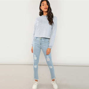 Grey Striped Casual Sweatshirt