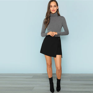 Grey High Neck Knit Bodysuit