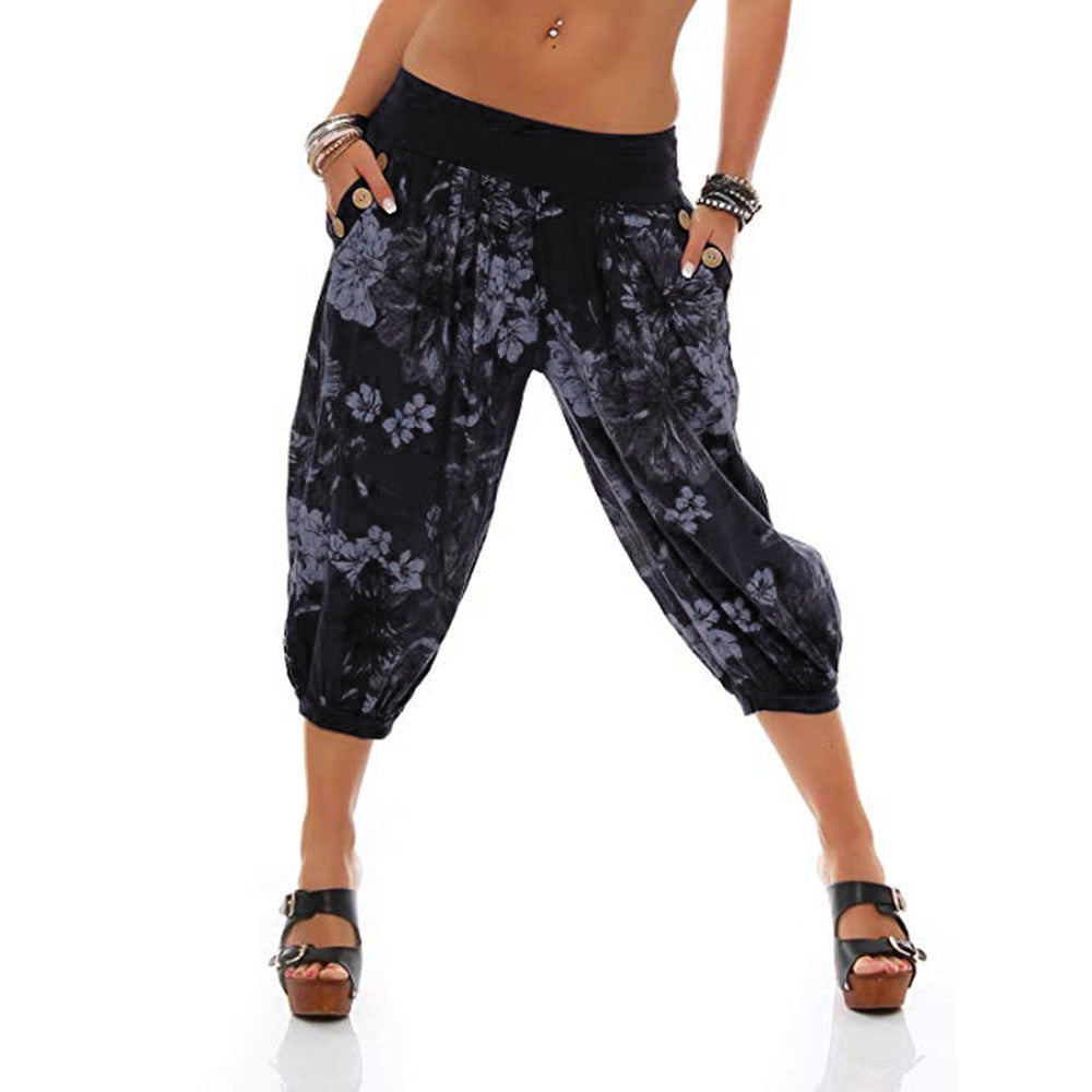 Print Loose Fitting Pants