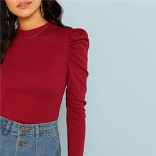 Load image into Gallery viewer, Burgundy Rib Knit Slim Fit Top